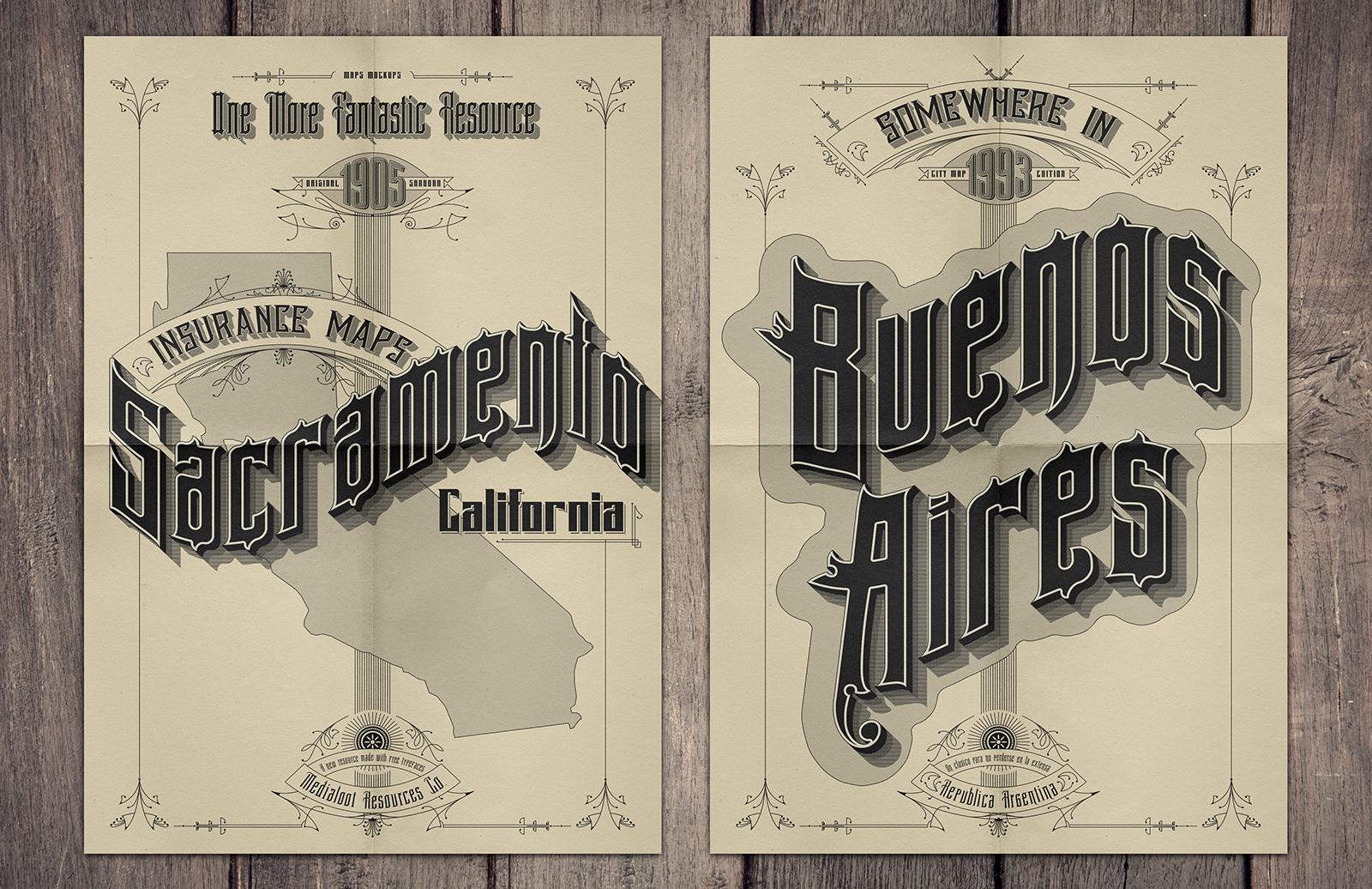 Large Vintage  Sanborn  Map  Poster  Mockup  Preview 2