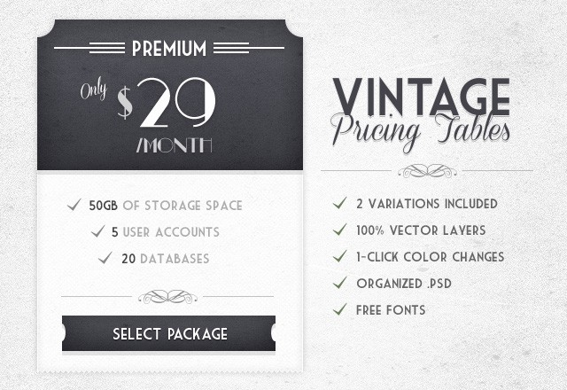 Vintage Pricing Tables