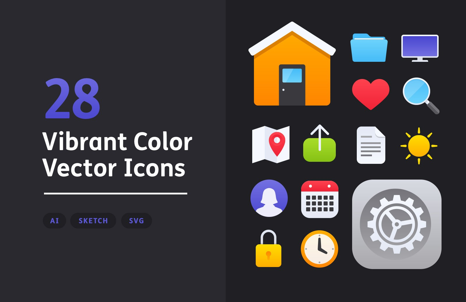 Vibrant Color Vector Icons Preview 1