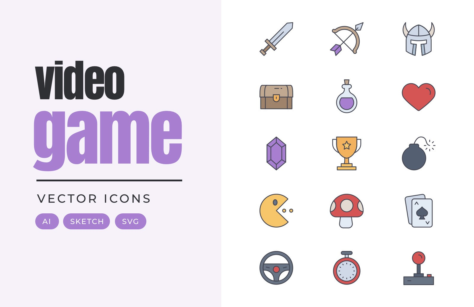 Video Game Vector Icons Preview 1