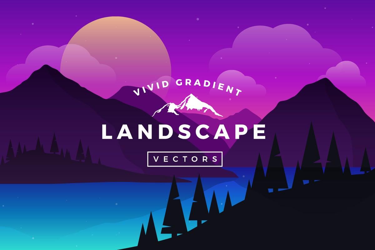 Landscape Illustration Vector Free: Vivid Gradient Vector Landscapes