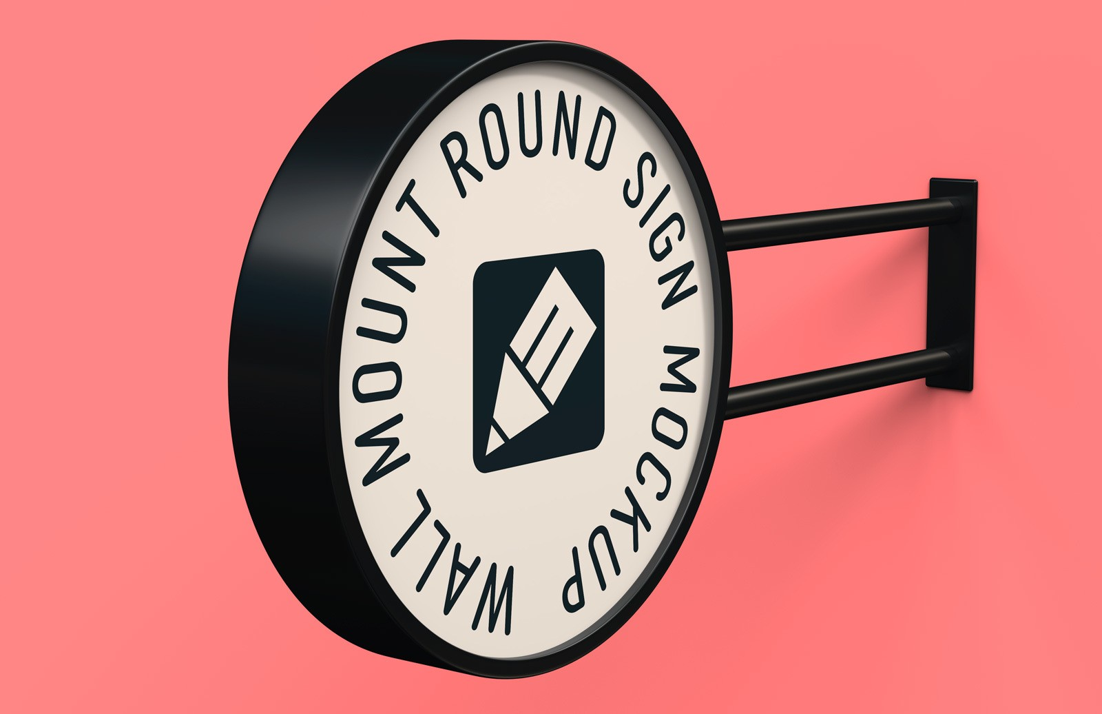 Wall Mount Round Sign Mockup Preview 1