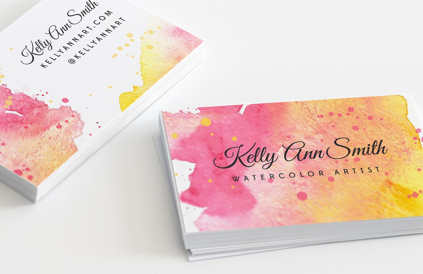 Watercolor Artist Business Card Template — Medialoot