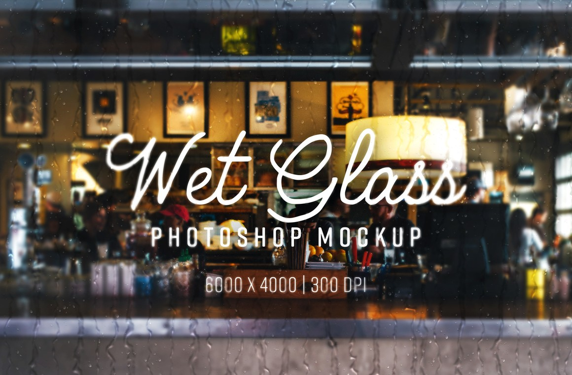 Wet Glass Photoshop Mockup