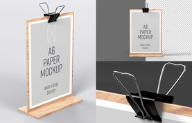 Wooden Stand A6 Paper Mockup
