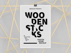 Wooden Sticks Poster Scene Mockup 1