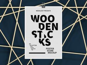 Wooden Sticks Poster Scene Mockup 2
