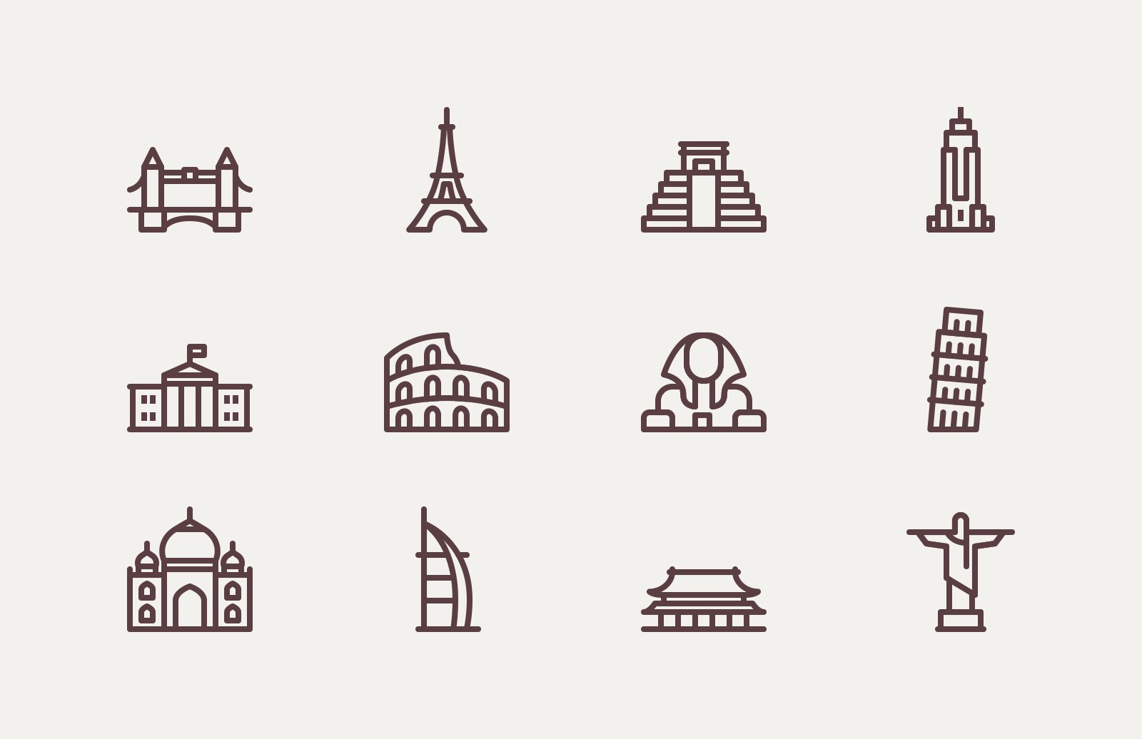 Large World  Landmark  Vector  Icons  Preview 1