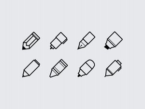 Writing Implements Icon Set 1