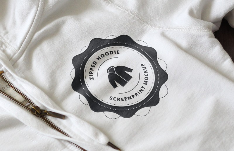 Large Zipped  Hoodie  Screen  Print  Mockup  Preview 2