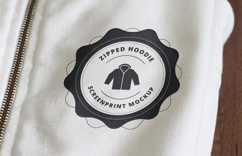 Large Zipped  Hoodie  Screen  Print  Mockup  Preview 3