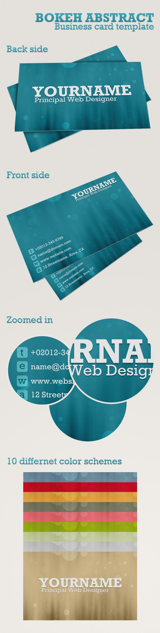 Large Bokeh Business Cards Preview