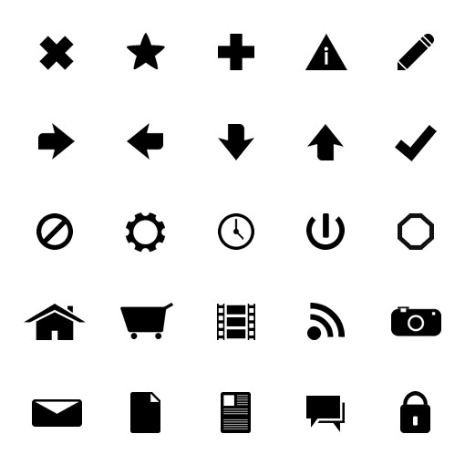 Monochrome Symbols Icon Set 1