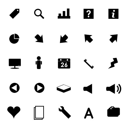 Monochrome Symbols Icon Set 2