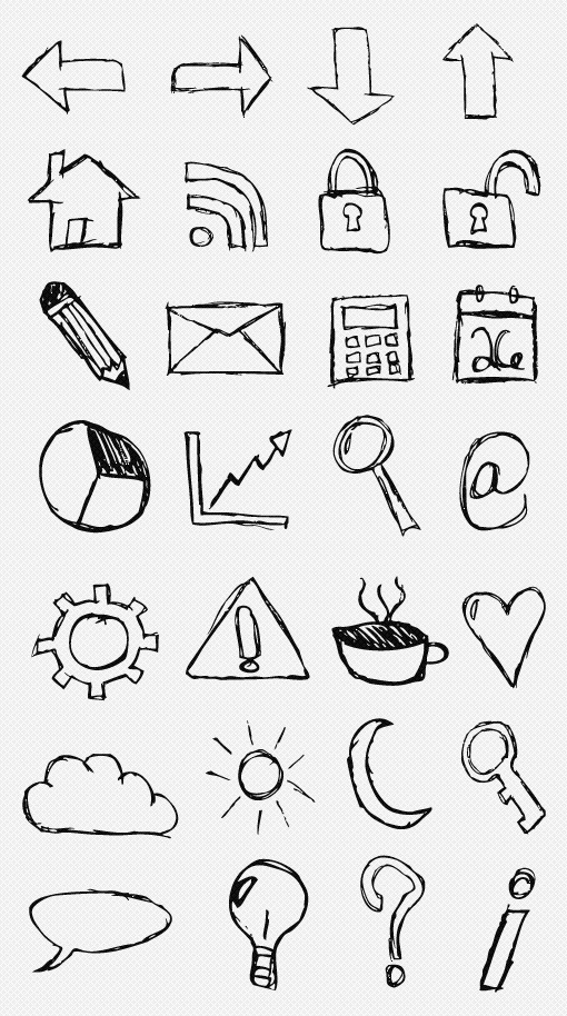 Hand-Drawn Sketch Icon Set