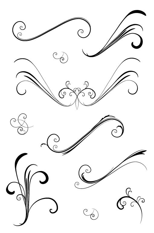 Elegant & Amp Flowery Vector Swirls Mdash Medialoot