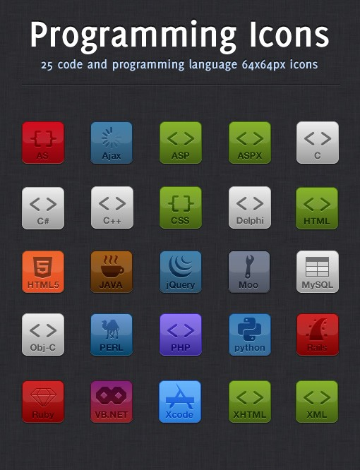 code and programming icons medialoot