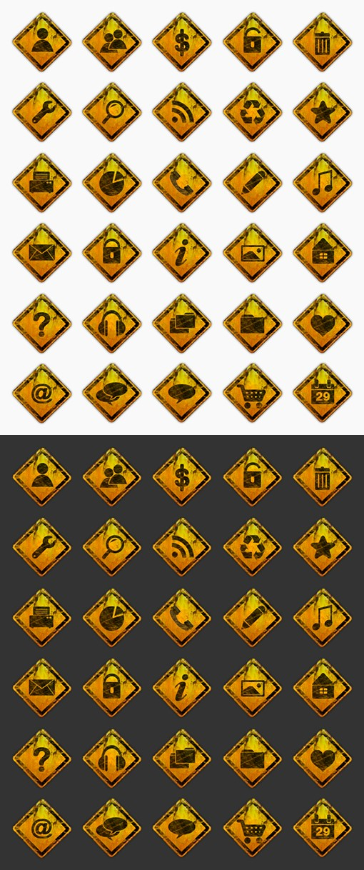 Rusty Road Sign Icons Preview