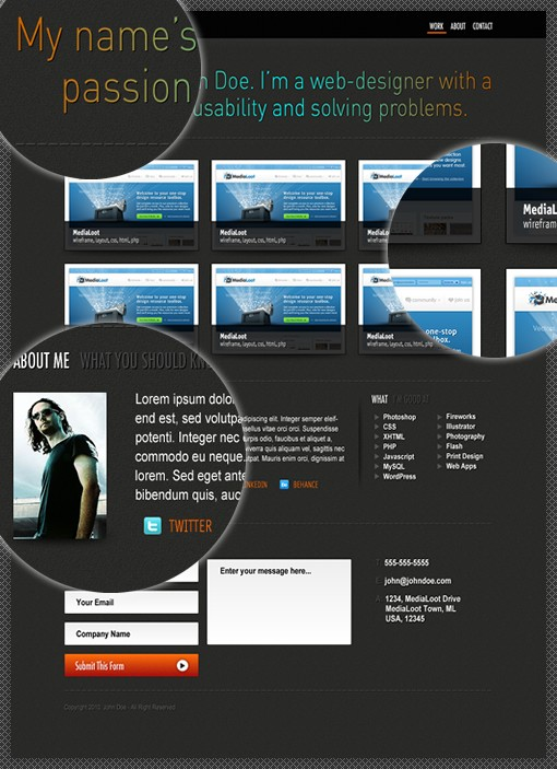 Single Page Portfolio PSD Template