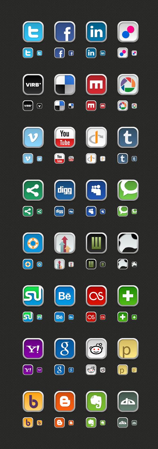 Large Social Media Icon Set Updated